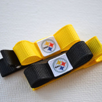 Pittsburgh Steelers Hair Clips - Toddler Hair Clips - Pittsburgh Steelers Inspired Hair Bows - Pittsburgh Steelers Stocking Stuffer