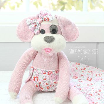 Handcrafted Baby Sock Puppy Dog Doll with Pacifier, Pink Poppy Puppy