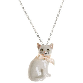 White Cat Necklace by And Mary | Little Moose | Cute bags, gifts, toys, jewellery and accessories from independent designers and famous brands