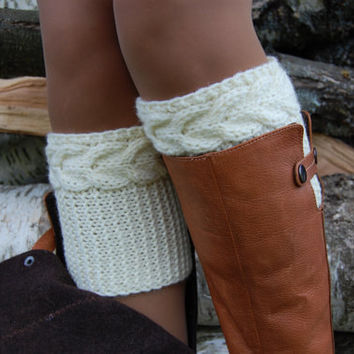 PATTERN - Women' Cable Knit Boot Cuff Knitting Pattern
