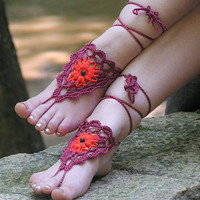 BAREFOOT SANDALS, Crochet, Burgundy, Red, Hippie Nude Shoes, Bohemian Beach Sandals, Gypsy Foot Jewelry, Lolita Summer Anklets, Cotton Shoes