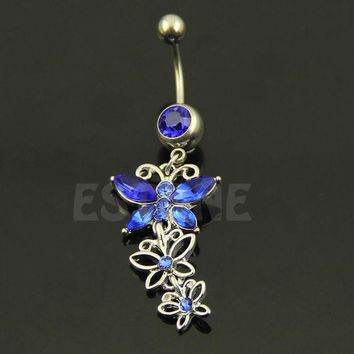 ac ICIKO2Q Butterfly Belly button ring Body piercing Jewelry Dangle Crystal Gem 14G 316L surgical steel bar Nickel-free