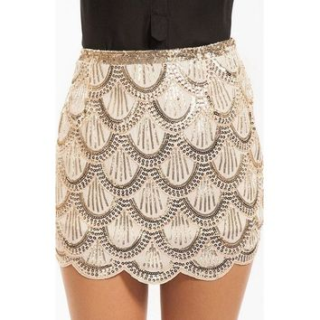 Sequined Beaded Embellished High Waist Mini Skirt