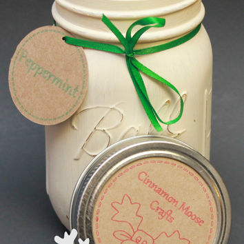 Peppermint Candle / Mason Jar Candle / Peppermint Soy Candle / Peppermint Scent / Scented Soy Candle / Peppermint / Housewarming Gift