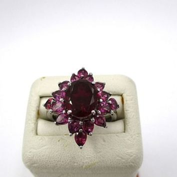 Chuck Clemency Sts Sterling Silver Garnet Cluster Ring