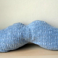 Mr Teacup's moustache pillow in blue by MrTeacup on Etsy