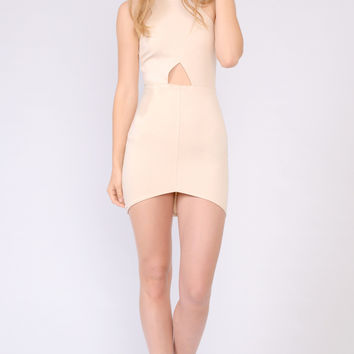 Round Neck Cutout Bodycon Dress