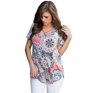 Gray Boho Print Crisscross V Neck Casual Shirt