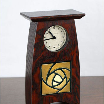 Arts & Crafts Rose DARK OAK Small Mantel Clock