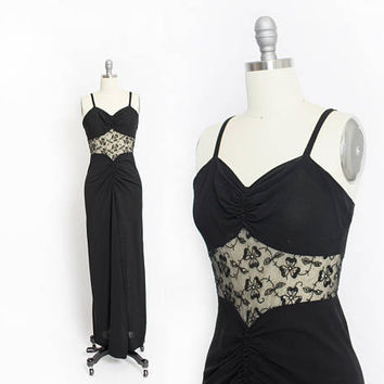Vintage 1930s Dress - Black Crepe ILLUSION Rhinestone Bias Cut Full Length Gown - Small