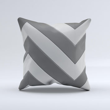 Dark Gray Wide Chevron Ink-Fuzed Decorative Throw Pillow