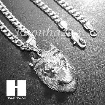 316L Stainless steel Silver King Lion w/ 5mm Cuban Chain S23