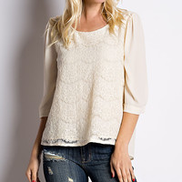 Ivory Lace Three-Quarter Sleeve Top