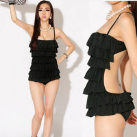 Womens Tiered Ruffles Monokini One-piece Backless Swimwear Swimsuit 1b5