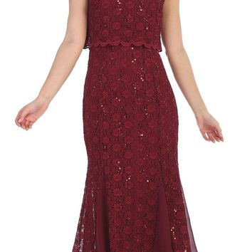 Lace Tea-Length Short Sleeves Wedding Guest Dress Burgundy