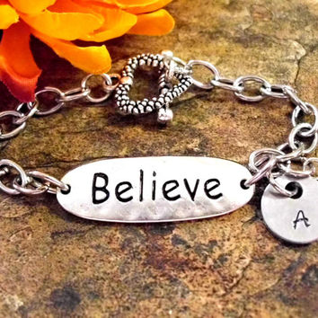 Believe Bracelet, Personalized Jewelry, Hand Stamped Jewelry, Stainless Steel Toggle, Believe Jewelry