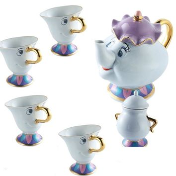 Royal-Infinity: Beauty and the Beast  Chip Tea Cup Kettle Mrs Potts Set