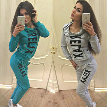 Side Zipper Hoodie Top Casual Flower Print Pants Activewear Set