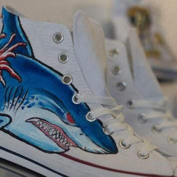 One of a kind hand painted tattoo inspired classic Converse high top sneaker
