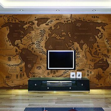 Custom 3d wall paper retro nostalgia large mural hotel living room TV background 3D wallpaper world map Continental