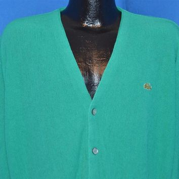 80s Izod Lacoste Taffy Green Cardigan Sweater Large