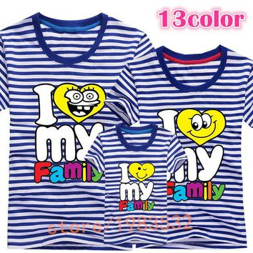 ONETOW I love my Family T Shirts Summer Family Matching Clothes Father Mother Kids Children Outfits New Cotton Tees Free Drop Shipping