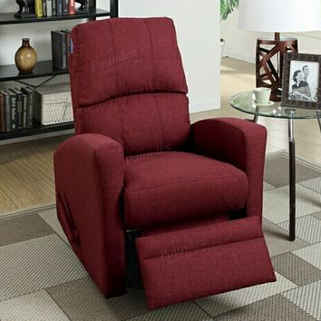 Poundex F1531 Collette collection carmine polyfiber fabric upholstered swivel recliner chair