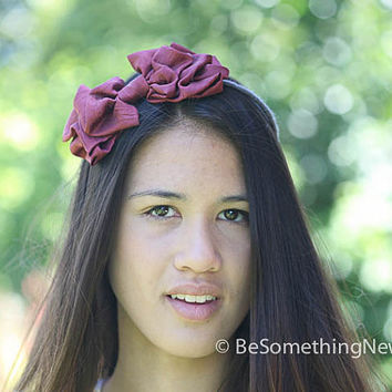 Big Tucked bow headband in burgandy
