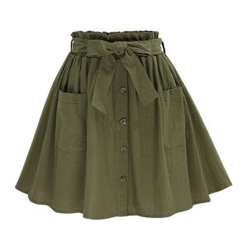 Summer Vintage Retro Pleated Skirt Women Fashion High Waist Casual Pocket Short Skirt Elegant Pocket Lady OL Skirts