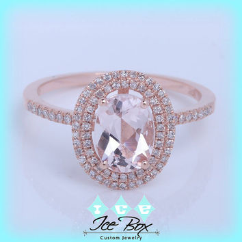 Morganite Engagement Ring 1.3ct Oval Morganite in 14k Rose Gold Double Diamond Halo Setting
