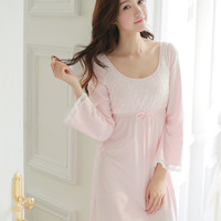 Free Shipping Knitted Cotton Princess Nightdress Pink Pijamas Women's Long Nightgown Lace Sleepwear pijama feminino