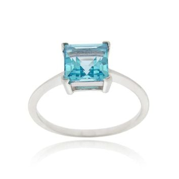 925 Silver Swiss Blue Topaz Solitaire Square Ring