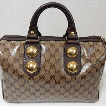 Auth Gucci Boston Bag GG Crystal PVC Canvas Leather Brown 207297 Pre-Owned