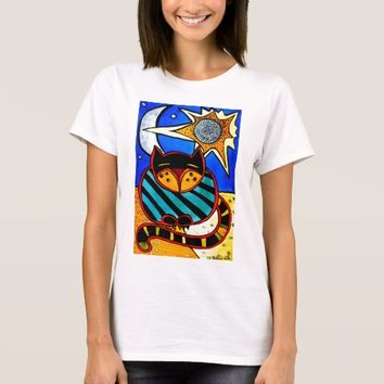 Sun And Moon Colorful Cat Design T-Shirt