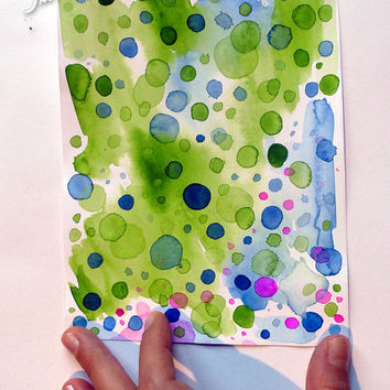 Abstract watercolor painting, original artwork on acid free paper, 5.90 x 7.08 inches, circles, bubbles