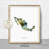 Mexico Art Print, Mexico Print, Office Art Print, Watercolor Map Mexico Map Print, Map Art Office Decorations, Country Map, Art Print Zone