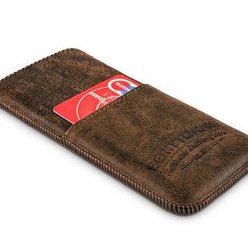 iPhone 6 Leather Wallet Case -Tobacco Brown Phone Case - Perfect Fit iPhone Case
