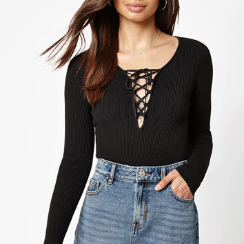 Kendall and Kylie Long Sleeve Lace-Up Sweater Top at PacSun.com