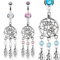 Stainless Steel Dream Catcher Net with Bead Based Feathers Fancy Navel Ring; Comes With Free Gift Bo