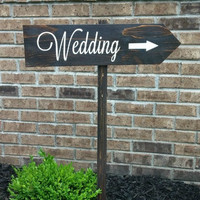 Rustic Wedding Sign with Optional Directional Arrow