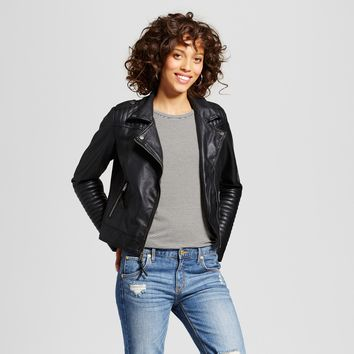 Women's Faux Leather Moto Jacket - Xhilaration™ (Juniors') Black L