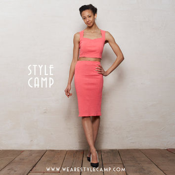 Kirsten Two Piece Bralet and Pencil Skirt Set in Melon Pink