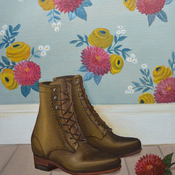 Still Life Painting, Oil Painting, Shoe Painting, Boots, Autumn Painting, Floral Wallpaper, Fashion Illustration,Dhalias,11 x14 Canvas Panel
