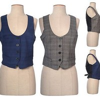 Casual Scoop Neck Plaid Front Four Button Sleeveless Vest Adjustable Strap Back