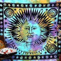 Psychedelic Celestial Indian Sun Hippie Hippy Tapestry Wall Hanging Throw Tie Dye