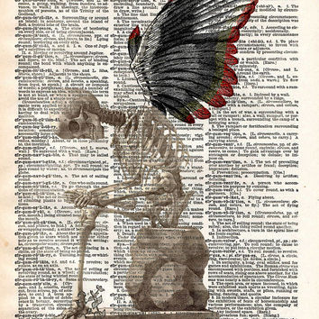 Winged skeleton fairy takes a break creepy vintage dictionary page book art print