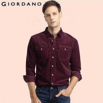 Men Shirts Corduroy Long Sleeves Collar Button Shirt Pockets Hombre Casual Clothing Slim Fit Fashion