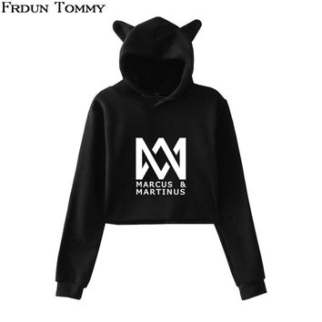 Frdun Tommy Marcus & Martinus Cat Ear Hoodies Sweatshirt Cuit Kpop Geometric Pattern Casual Women Autumn Soft Sweatshirt