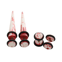 White And Red Splatter Faux Taper And Plug 4 Pack