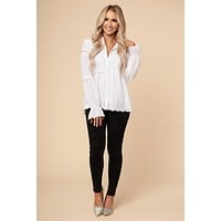 Shed No Tier Tiered Ruffle Top (White)